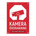 Kameraövervakningsskylt röd med vår egen design - A4-storlek