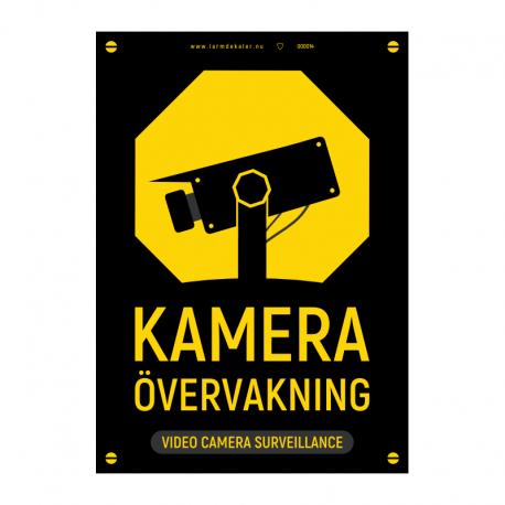 Kameraövervakningsskylt svart/gul med vår egen design - A4-storlek