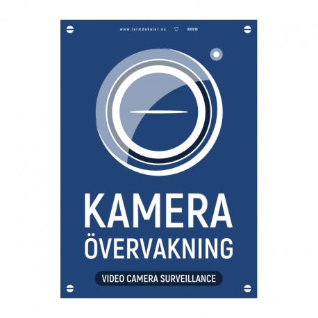 Kameraövervakningsskylt version 2 blå med vår egen design - A4-storlek
