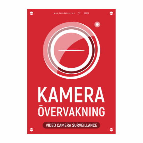 Kameraövervakningsskylt version 2 röd med vår egen design - A4-storlek