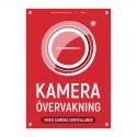 Kameraövervakningsskylt v2 röd med vår egen design - A4-storlek
