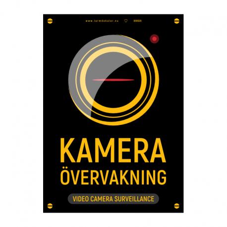Kameraövervakningsskylt version 2 svart/gul med vår egen design - A4-storlek