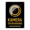 Kameraövervakningsskylt v2 svart gul med vår egen design - A4-storlek