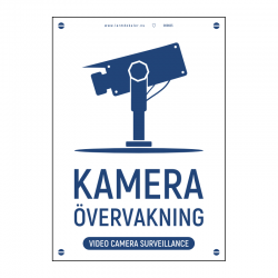 Kameraövervakningsskylt vit blå med vår egen design - A4-storlek