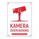 Kameraövervakningsskylt vit röd med vår egen design - A4-storlek