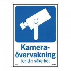 Kameraövervakningsskylt - För din säkerhet - A4-storlek - hårdplast