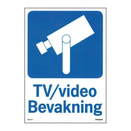 Kameraövervakningsskylt - TV-video Bevakning - A4-storlek - hårdplast