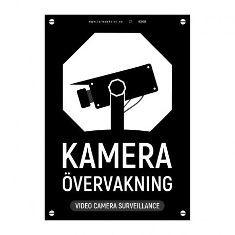 Kameraövervakningsskylt svart med vår egen design - A4-storlek