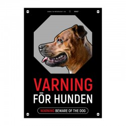 Varning för hunden skylt svart röd vit med vår egen design - A4-storlek