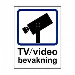 Dekal TV/video bevakning A4 - klister baksida