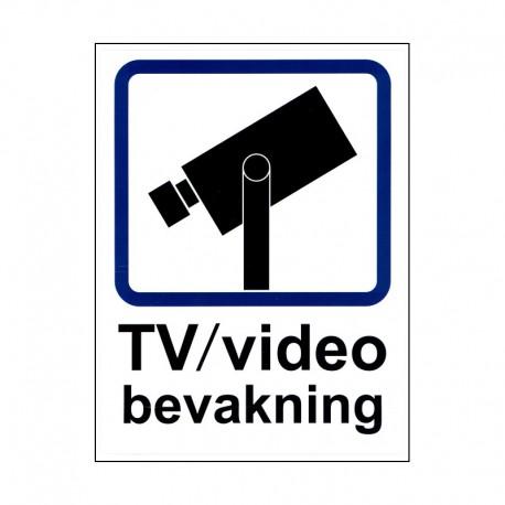 Dekal TV/video bevakning A4 - klister baksida