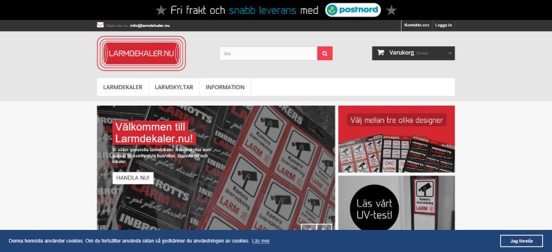 Skärmdump Larmdekaler.nu förstasida